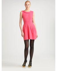 Oscar de la Renta Sleeveless Wool Crepe Dress - Lyst