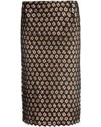 Alexander McQueen Honeycomb Lace Contrast Slip Skirt - Lyst