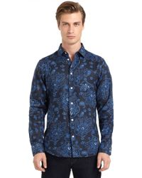 Blue Saks Fifth Avenue - Linen Paisley Button Front Shirt - Lyst