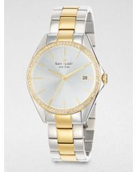 Kate Spade Seaport Grand PavÉ Crystal & Two-Tone Stainless Steel Bracelet Watch - Lyst