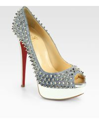 Christian Louboutin Lady Spiked Denim Platform Pumps - Lyst