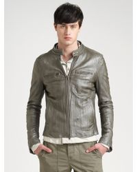 Converse Crinkled Leather Jacket - Lyst