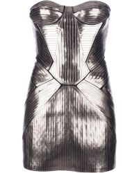 DSquared2 Metallic Bustier Mini Dress - Lyst