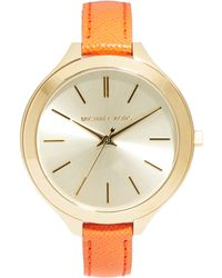 Michael Kors Slim Runway Orange Strap Watch - Lyst