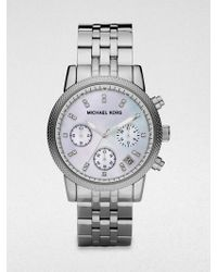 Michael Kors Ritz Crystal, Mother-Of-Pearl & Stainless Steel Chronograph Bracelet Watch - Lyst