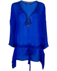 Roberto Cavalli Sequin Detail Blouse blue - Lyst