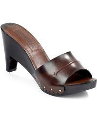 CoSTUME NATIONAL - Stud Leather Wood Clog Sandals - Lyst