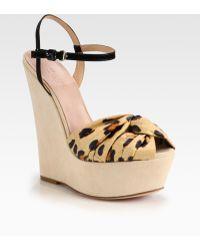 Giambattista Valli - Leopardprint Satin Suede Wedge Sandals - Lyst