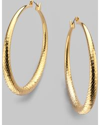 Kenneth Jay Lane Textured Hoop Earrings - Lyst