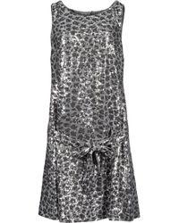 Love Moschino Sleeveless Round Collar Gray Short Dress - Lyst