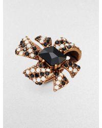 Oscar de la Renta Swarovski Crystal Bow Cocktail Ring - Lyst
