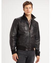 scotch soda leather bomber jacket in blue for men teal. Black Bedroom Furniture Sets. Home Design Ideas