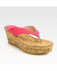 Stuart Weitzman Clasp Suede Cork Wedge Sandals - Lyst