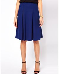 ASOS Collection Midi Skirt in Ponte with Pleats blue - Lyst