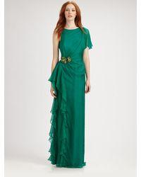 Badgley Mischka Asymmetrical Silk Gown - Lyst