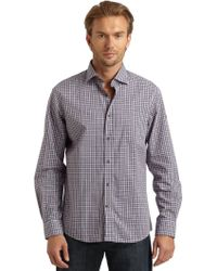 Blue Saks Fifth Avenue - Plaid Woven Shirt - Lyst