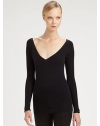 Donna Karan New York Cashmere Vneck Top - Lyst
