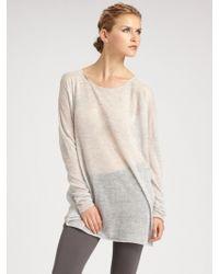 Donna Karan New York Long Sleeve Slouchy Scoopneck Top - Lyst