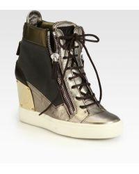 Giuseppe Zanotti Alba Canvas Metallic Leather Wedge Sneakers - Lyst