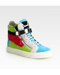 Giuseppe Zanotti Colorblock Suede Wedge Sneakers - Lyst