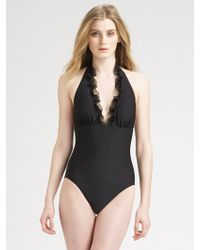 Gottex Ruffle Halter One Piece Swimsuit - Lyst