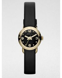 Marc By Marc Jacobs Amy Goldtone Stainless Steel & Leather Strap Watch/Black - Lyst
