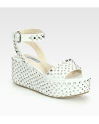 Prada Studded Leather Wedge Sandals - Lyst