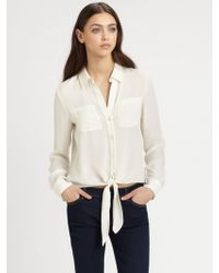 Theory Orencia Silk Tiefront Blouse - Lyst