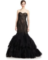 Zac Posen Strapless Lace Gown - Lyst