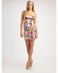 D&G Mimosaprint Stretch Silk Mini Dress - Lyst