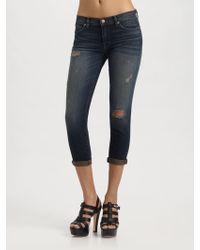 J Brand Aoki Rolled Distressed Jeans - Lyst