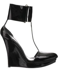 McQ by Alexander McQueen Black Tbar Ankle Cuff Wedge Heels - Lyst