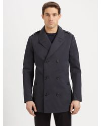 Michael Kors Cotton Doublebreasted Peacoat - Lyst