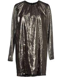 MSGM Long Sleeve Round Collar Silver Short Dress - Lyst