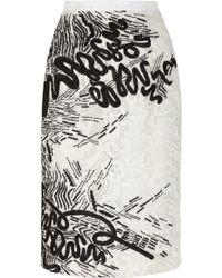 Oscar de la Renta Macramã©-Lace Pencil Skirt - Lyst