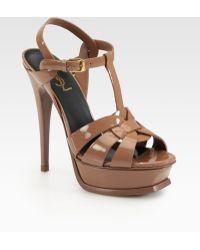 Saint Laurent Patent Leather Tribute Platform Sandals - Lyst