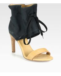 See By Chloé Leather Suede Drawstring Ankle Strap Sandals - Lyst