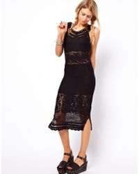 ASOS Collection Crochet Village Midi Dress with V Back and Neck - Lyst