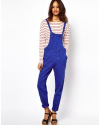 ASOS Collection Asos Coloured Denim Dungaree in Colbalt Blue - Lyst