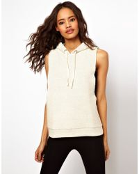 ASOS Collection Asos Sleeveless Sweatshirt with Hood in Heavy Fabric beige - Lyst