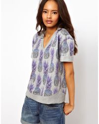 ASOS Collection Sweatshirt with Digital Pineapple Print purple - Lyst