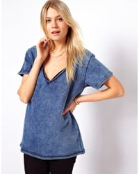 ASOS Collection | Asos Sweatshirt with Raw V Neck in Acid Wash | Lyst