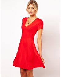 ASOS Collection | Skater Dress with V Neck and Short Sleeves | Lyst