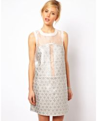 ASOS Collection | Ultra Mini Dress in Metallic Jacquard | Lyst