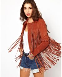 ASOS Collection | Fringed Suede Leather Jacket | Lyst