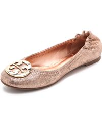 Tory Burch Reva Metallic Ballet Flats - Lyst
