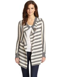 Aro - Kendra Striped Knit Open Front Sweater - Lyst