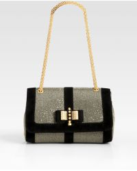 Christian Louboutin Sweet Charity Glitter Suede Shoulder Bag - Lyst