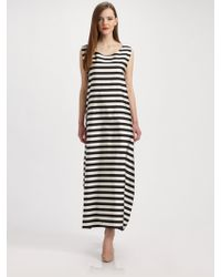Jil Sander Silkcotton Stripe Gown - Lyst