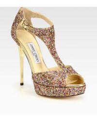 Jimmy Choo Totem Glitter Tstrap Platform Sandals - Lyst